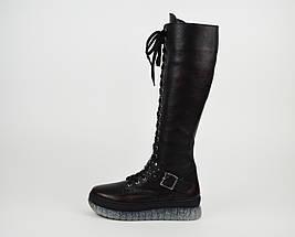 Зимние черно-бордовые сапоги шнуровка Donna Style, фото 2