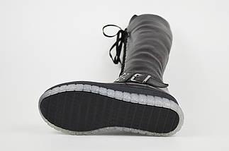 Зимние черно-бордовые сапоги шнуровка Donna Style, фото 3