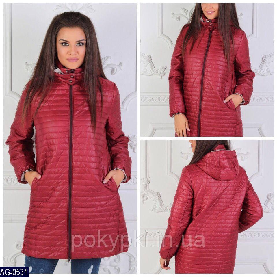 3c3d480e8ad Повседневная утепленная женская стеганая куртка пальто на молнии больших  размеров бордовая -