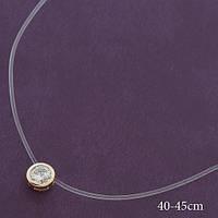 Кулон-камень на леске ХР.  Медицинское золото. Код:2041