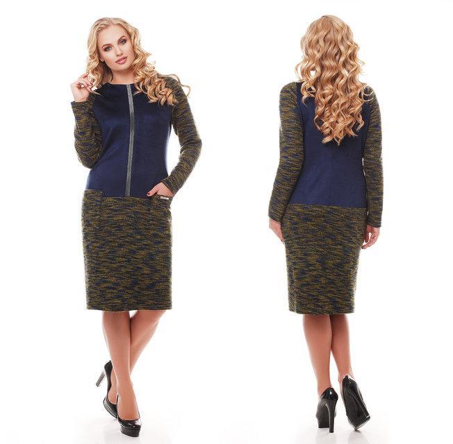 Платье кэжуал  52-58р оливка