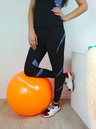 Женские спортивные лосины с меланжевой синей вставкой 42-48 р, фото 2
