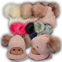 ОПТ Детский комплект - шапка с двумя помпонами и шарф хомут для девочки, 46-48 (5шт/набор)