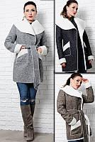 Теплое пальто на овчине  - Бенжамина -
