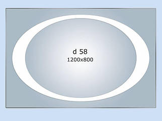 Зеркало с LED подсветкой 10Вт 1200*800 с рисунком D58 с инфракрасным портом