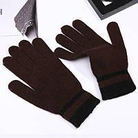 Перчатки весна/осень унисекс коричневые с полосками на запястье , фото 1
