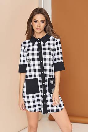 Платье рубашка мини по бокам разрезы прямое в клетку двухцветное белое, фото 2