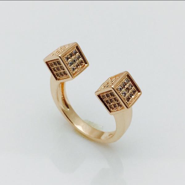 Кольцо Кубики позолота 18К безразмерное