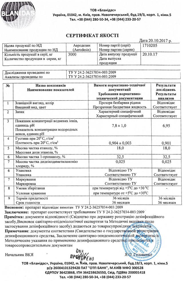 Аеродезин сертификат