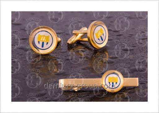 Комплект зажим для галстука и запонки, фото 2
