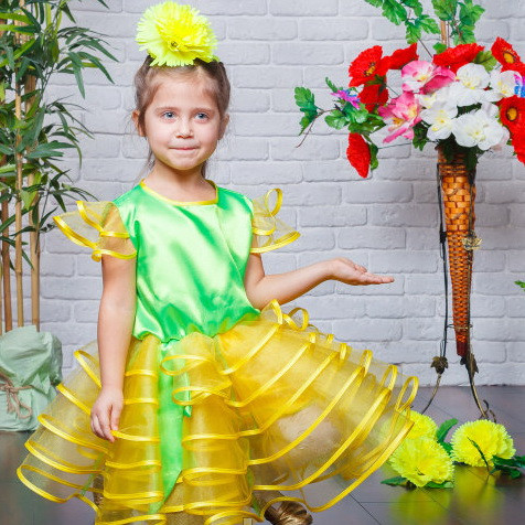 47130400327fd Детский маскарадный костюм Одуванчик, костюм цветка, костюм карнавальный для  девочки, дропшиппинг - Irmana