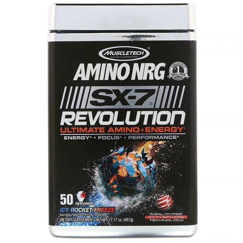 Купить Muscletech, Amino NRG SX-7 Revolution Ultimate Amino Plus Energy,  Icy Rocket Freeze, 17 17 oz (487 g) в Киеве: цена и