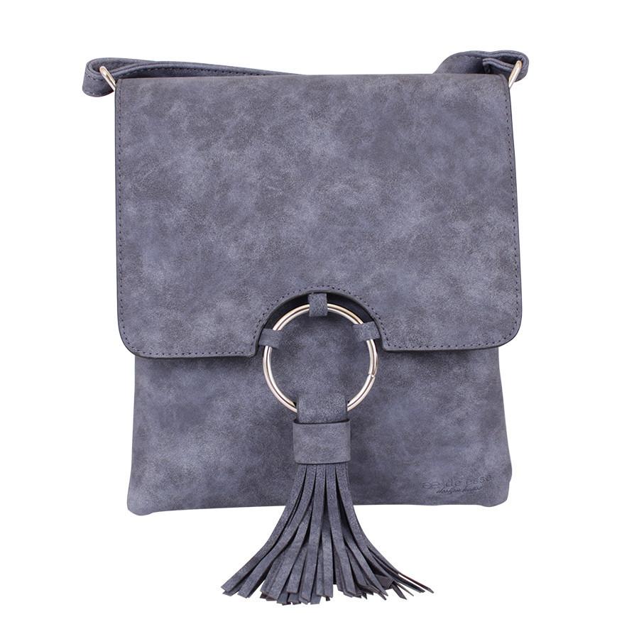 Синяя сумочка-планшет на длинной ручке