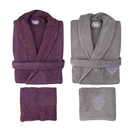 Набор халаты с полотенцами Karaca Home - Drisela 2018-2 murdum (S/M+L/XL+50*90-2 шт)