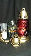 Оригинальная лампадка из рыфленного стекла и пластика, съемная свеча, выс.25.5 см., 45/39 (цена за 1 шт +6 гр)