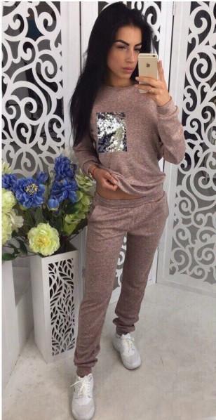 Женский костюм теплый на осень с карманчиком из паетки ангора софт осенний на осень С-ка пудра пудренный