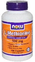 Л Метионин, Now Foods, L-Methionine 500 mg, 100 Caps