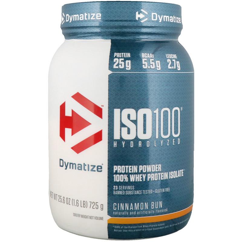 Dymatize Nutrition, ISO 100 Hydrolyzed, 100% Whey Protein Isolate, Cinnamon Bun, 25.6 oz (725 g)