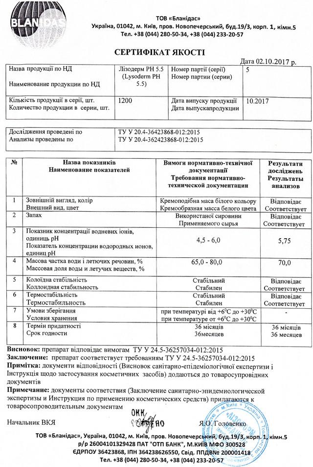 Лизодерм рН 5.5 сертификат