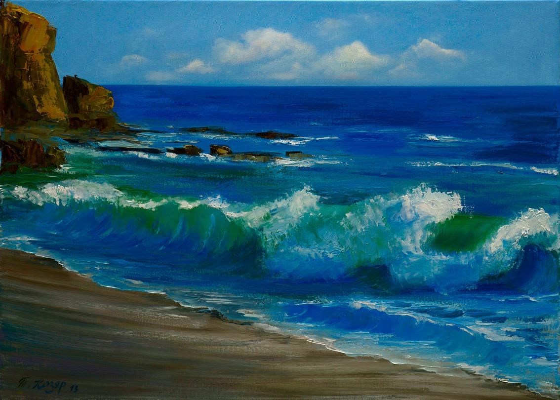 Морской прибой холст 70х50 картина масло