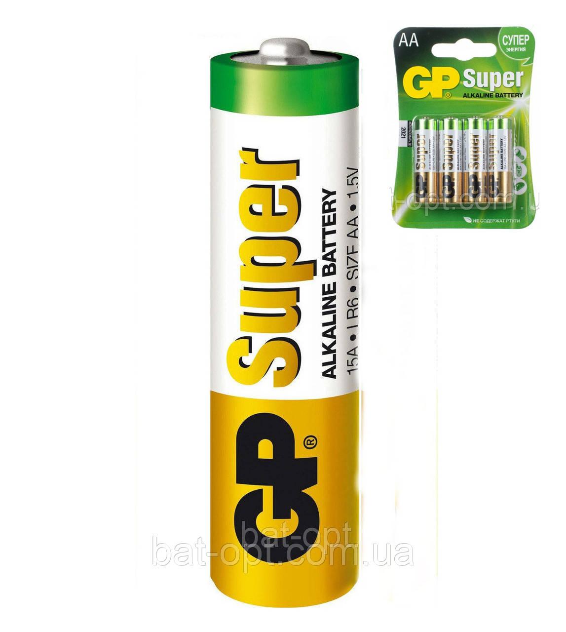 Батарейка щелочная GP 15A-U4 Super Alkaline LR6 AA пальчиковая (блистер)