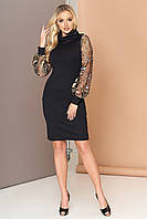 Красивое вечернее платье миди приталенное рукав длинный сетка с вышивкой черное