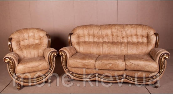 "Диван и кресло ""Джове"" в ткани цвет орех с патиной золото., фото 2"