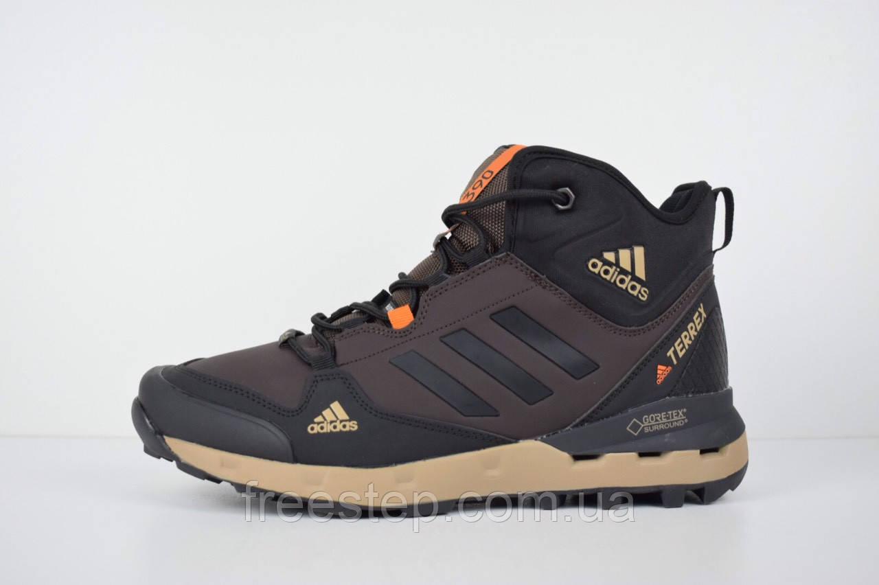 583302bd Зимние кроссовки в стиле Adidas Terrex 390, натур. мех, нубук, коричневые,