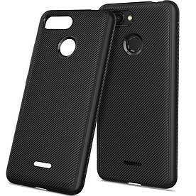 Чехол накладка для Xiaomi Redmi 6 силиконовый, Twill Texture, черный
