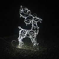 Олень светодиодный светящийся полуобъемный 90см LED, Новогодний декор