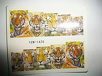 Наклейки - слайдеры на ногти - леопард, питон, павлин и др. хищники.