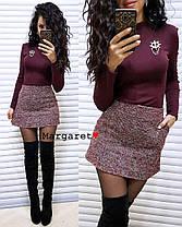 Костюм гольф стрейчевый и юбка мини букле, фото 2