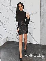 Кожаная юбка мини со шнуровкой по бокам, фото 3