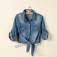 Короткая джинсовая рубашка, фото 1