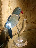 Статуэтка Попугай на ветке хрустальный 13 см
