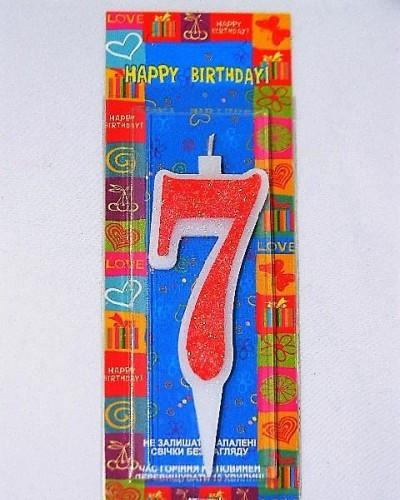 Свеча цифра семь красная 7см