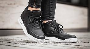 Кроссовки мужские черные Nike Air Jordan 3 Black White (реплика), фото 2