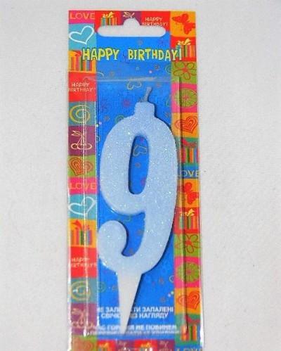Свічка цифра дев'ять блакитна 7см