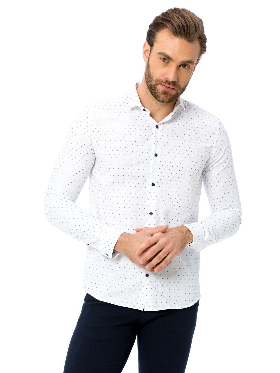 Белая мужская рубашка LC Waikiki / ЛС Вайкики в синие ромбы