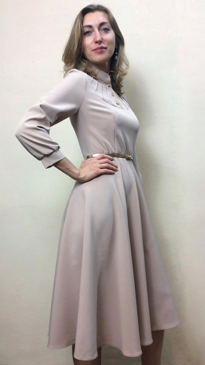 58627c53252 Песочное платье полуклеш с пышным рукавом П227  продажа