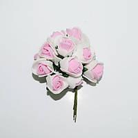 Роза латекс бело-розовая