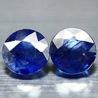 4.09  кт Природный синий сапфир круг пара 7 мм