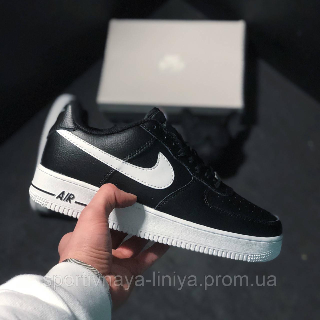 Кроссовки мужские черные Nike Air Force 1 Low black white (реплика)