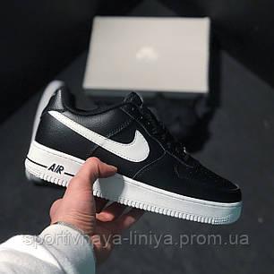 Кроссовки мужские черные Nike Air Force 1 Low black white (реплика), фото 2