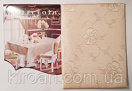 Тканевая скатерть на кухонный стол с жаккардовым узором 100х140см (цвет бежевый)