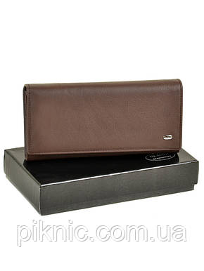 Женский кожаный кошелек, клатч на кнопке Dr Bond. Из натуральной кожи. Кофе, фото 2
