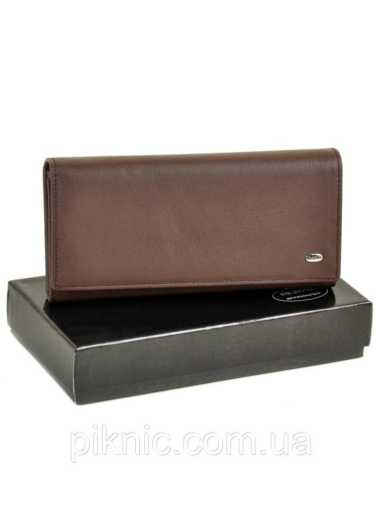 Женский кожаный кошелек, клатч на кнопке Dr Bond. Из натуральной кожи. Кофе