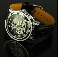 Мужские часы Winner Black черные скелетон Skeleton Механика, фото 1