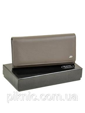 Женский кожаный кошелек на кнопке, клатч, портмоне Dr Bond. Натуральная кожа. Серый, фото 2