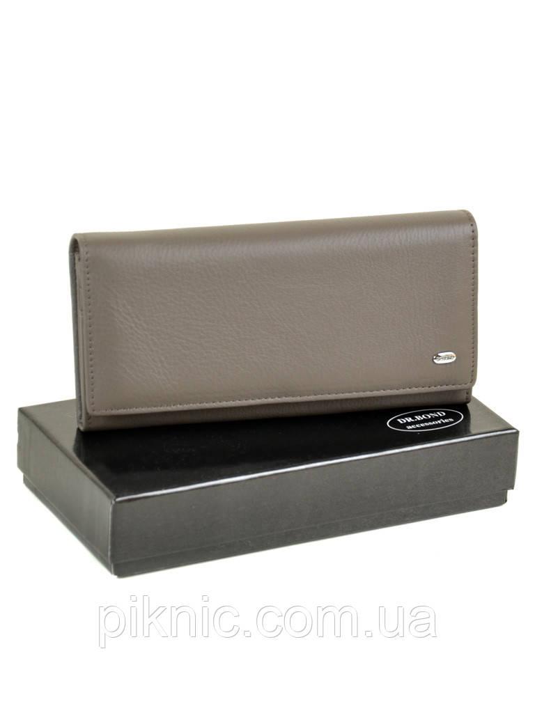 Женский кожаный кошелек на кнопке, клатч, портмоне Dr Bond. Натуральная кожа. Серый